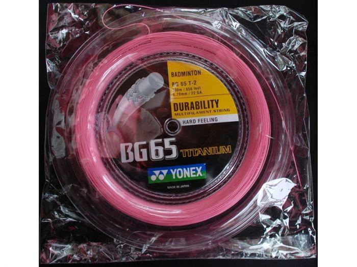 BOBINE DE CORDAGE BADMINTON YONEX BG 65 TITANIUM ROSE