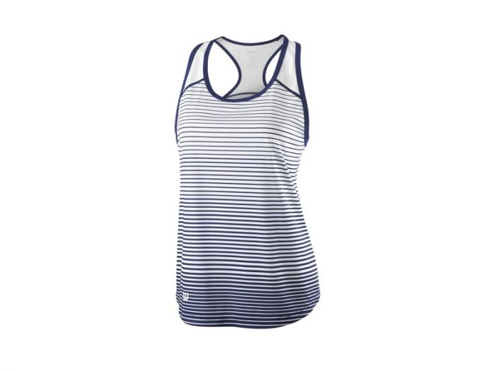 DEBARDEUR FEMME WILSON TEAM STRIPED TANK Blue Depth/Wh WRA766103 BLANC/BLEU