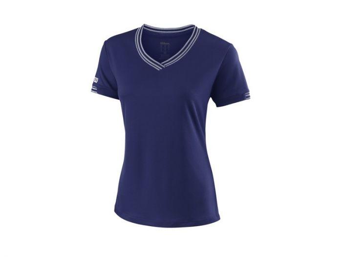 TEE SHIRT FEMME WILSON  TEAM V-NECK Blue Depth WRA770004 BLEU