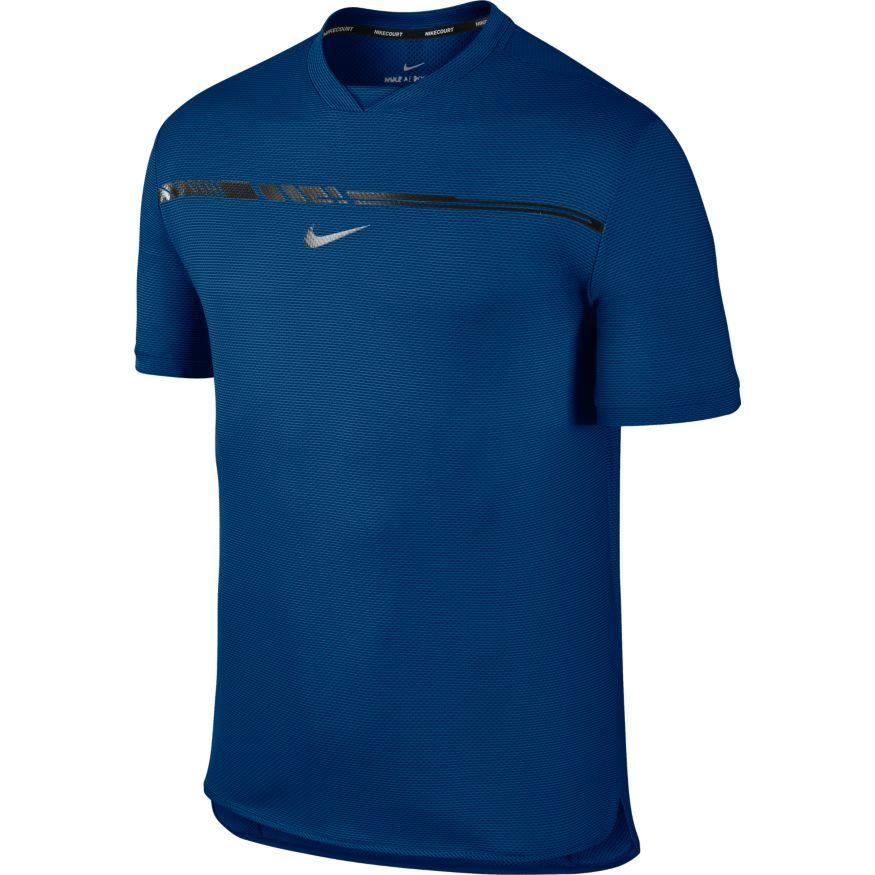 t-shirt nike homme court challenger bleu