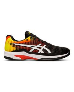 CHAUSSURES DE TENNIS ASICS SOLUTION SPEED FF TERRE BATTUE 1041A004 809 NOIR/JAUNE/ORANGE