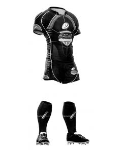 Ensemble de Rugby Espace Sports competition (Short+Maillot) Noir