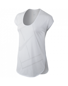 TEE SHIRT MANCHES COURTE FILLE NIKE BASELINE 822280 100 BLANC/GRIS