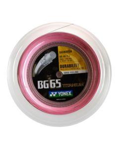 CORDAGE DE BADMINTON YONEX BG 65 TITANIUM ROSE GARNITURE ISSUE DE BOBINE 10M