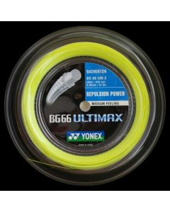 CORDAGE DE BADMINTON YONEX BG 66 ULTIMAX JAUNE GARNITURE ISSUE DE BOBINE 10M
