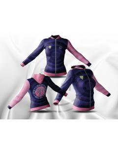 SWEAT CAPUCHE 100% SUBLIME AVEC ZIP FEMME/JUNIOR CAPO LIMOGES BLEU/ROSE