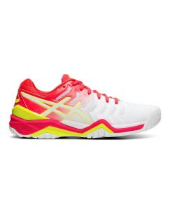 CHAUSSURES DE TENNIS FEMME ASICS GEL RESOLUTION 7 E751Y 116 BLANC/ROSE/JAUNE