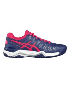Chaussure de Tennis Femme Asics Challenger 11 Clay E754Y 4920 Bleu/Rose