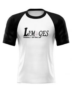 T-SHIRT ADULTE BI-COLOR BLANC NOIR LIMOGES BASEBALL