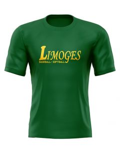 T-SHIRT ADULTE VERT LOGO LIMOGES BASEBALL SOFTBALL