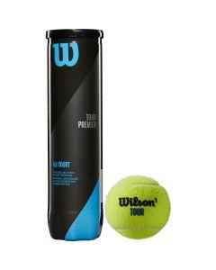 BALLES DE TENNIS WILSON TOUR PREMIER TUBE DE 4 BALLES