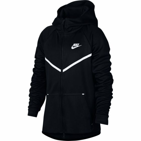 VESTE A CAPUCHE ZIPPEE JUNIOR NIKE TECH FLEECE AR4018 010 NOIR
