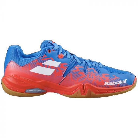 CHAUSSURE BADMINTON HOMME BABOLAT SHADOW SPIRIT 30S2003 BLEU ORANGE