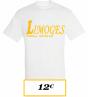 T-SHIRT ADULTE  BLANC LIMOGES BASEBALL LOGO LIMOGES BASEBALL SOFTBALL JAUNE